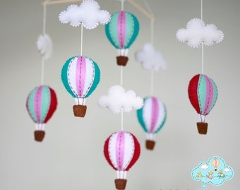 Jewelry tone hot air balloons baby mobile - baby mobile