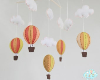 Autumn hot air balloons baby mobile - Orange hot air balloons baby mobile