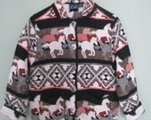 CLOSING SALE 50% Off 80s Southwestern Wild Horses Tapestry Jacket