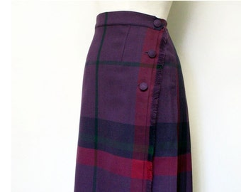 60's Pleated Skirt Flat Front Wool Plaid