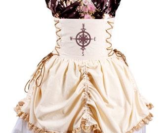 Steampunk Compass Double Corset Waisted Bustle Skirt