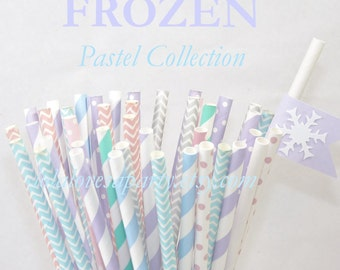 FROZEN inspired Party Paper Straws, 50 assorted Pastels & Patterns, Birthday, Hot cocoa bar, Ice Cream, Winter Party,Ice Princess Events