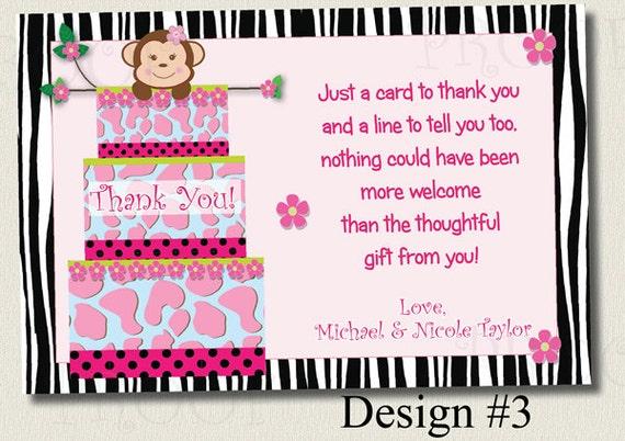 Printable Thank You Card Baby Shower Jungle Cake Monkey Zebra