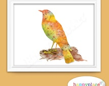 Printable Bird Art Print For Instant Download. Yellow and Brown Watercolour Texture. Custom Colour And Size Requests Welcome. Suit Bedroom.