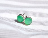 Silver Earrings with Chrysoprase Gemstone, Post Chrysophrase Earrings, Silver Stud Earrings