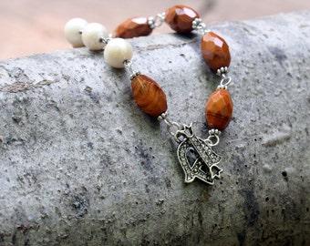 Freshwater Pearl & Faceted Vintage Bead Bracelet