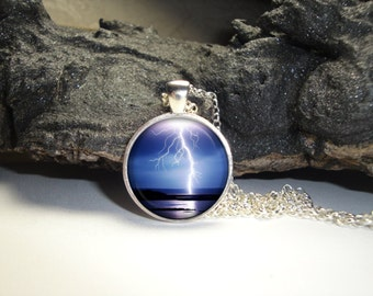 Lightning Pendant with Silver Plated Chain Included/Lightning Pendant and Necklace/Storm Glass Pendant
