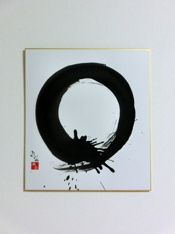 Enso Original Japanese Calligraphy Zen Circle Wall Art Sumi