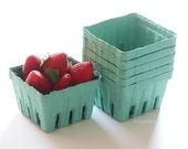 6 Berry Baskets Pint Size Garden Party Favors Strawberry Basket Fruit Cartons Wedding, Birthday, Baby Shower