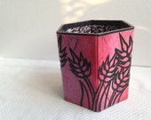 Hanji Pen Holder Pencil Case Desktop HANDMADE Pink Fuschia Purple Hand dyed Rainbow Wheat Country Style - HanjiNaty