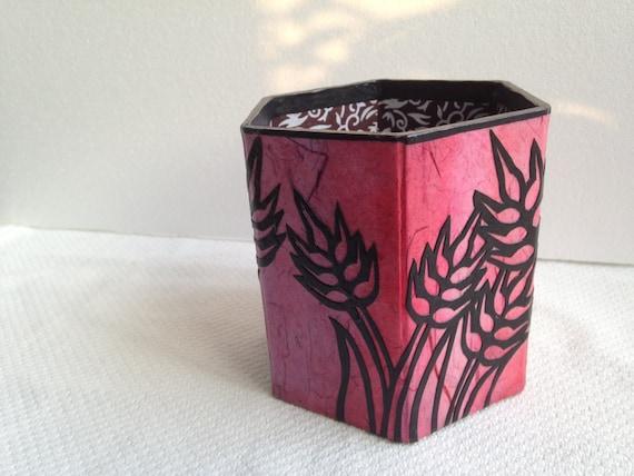 Hanji Pen Holder Pencil Case Desktop HANDMADE Pink Fuschia Purple Hand dyed Rainbow Wheat Country Style