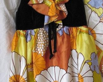 Vintage Boho Mod Orange Yellow Periwinkle Cream Flower Power Top 60's 70's