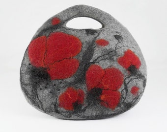 Grey Felted Bag Nunofelt Bag Poppy Handbag Purse Felt Nunofelt Nuno felt Silk Eco gray fog silver fairyFiber Art boho