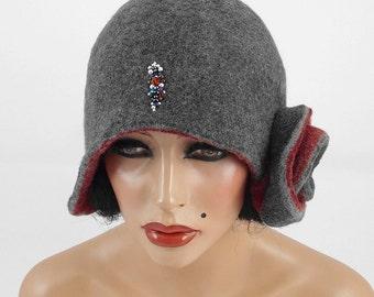 Felted Hat Cloche hat Art Hat Flapper hat Art deco hat Retro hats Felt wearable art Nunofelt Nuno felt la belle epoque