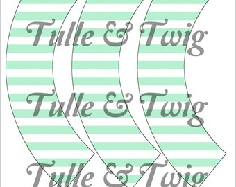 Mint & White Stripe Cupcake Wrappers Printable INSTANT DOWNLOAD