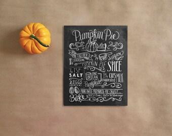 Pumpkin Pie Illustration- Autumn Decor - Thanksgiving Decor- Chalkboard Art - Pumpkin Decor - Thanksgiving Art