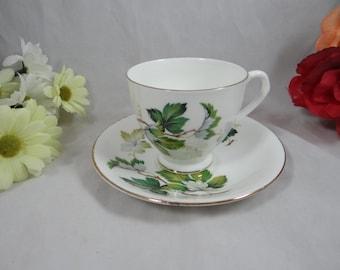 Vintage Montrose English Bone China Teacup Footed English Teacup and Saucer Lovely English Tea cup