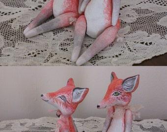 One Of A Kind Miniature Primitive Folk Fox Love Art Dolls