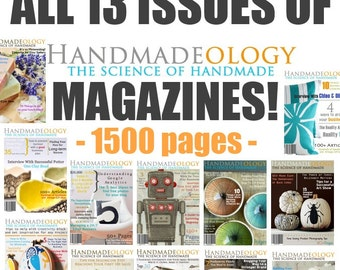Handmadeology Magazine - Complete Set - Issues 1 through 13 - Etsy Sellers Success - Etsy Magazine