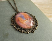 Fox Necklace Deer Jewelry Doe Fantasy Myth Animals Pendant Foxes Cameo Necklace