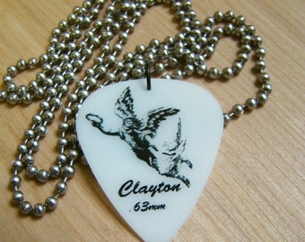 Angel Guitar Pick Necklace with Stainless Steel Ball Chain