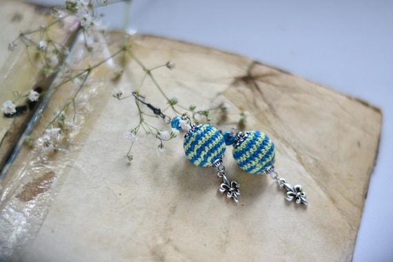Mint & Blue Crochet Earrings - Lovely Earrings - Everyday Jewelry