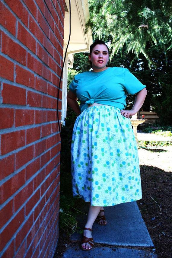 Plus Size - MODERN VINTAGE - Retro Print Midi Full Skirt (Size 1X-3X)