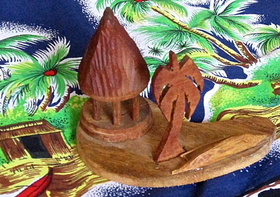 Miniature Wood Carving Samoan House Hand Carved Wooden
