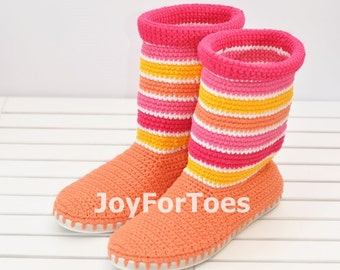 Crochet Boots for the Street, Outdoor Boots, Stripes Summer Boots, Made to Order