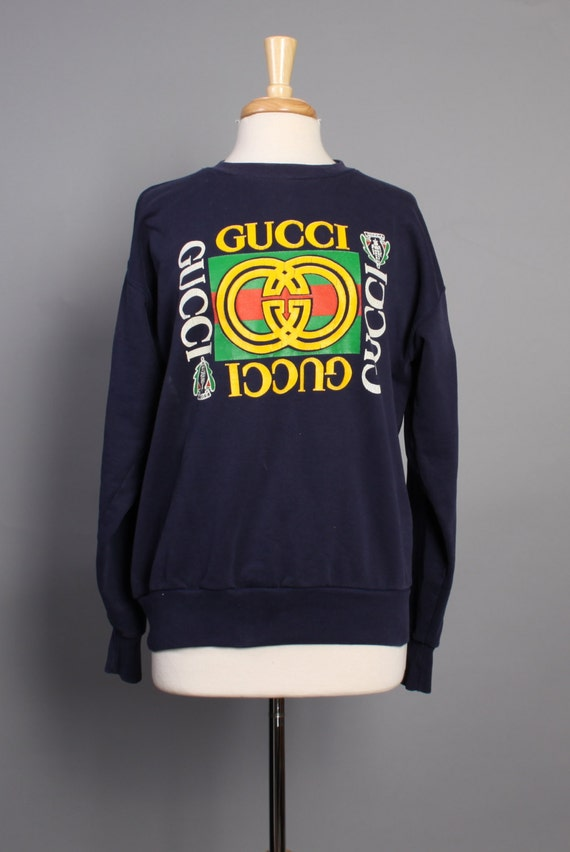 vintage 80s gucci logo sweatshirt navy cotton pullover l. Black Bedroom Furniture Sets. Home Design Ideas
