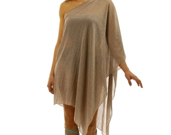 One Shoulder Beach Coverup, Kaftan, Tunic handmade of cotton gauze in beige.