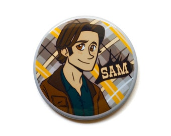 "Supernatural Button // Sam Winchester Button // 2"" Pinback Button or Magnet"