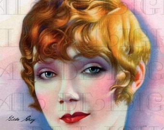 Gilda GRAY. Silent Screen Movie Star. Digital Movie Star Vintage  ILLUSTRATION.  Digital Art Deco Download.  Digital Movie Star Print.