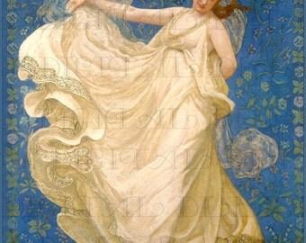 Stunning Superlative ANGEL Amongst the Bluest Of Blue. Angel Vintage Illustration.  Angel Digital DOWNLOAD. Vintage Angel Print.