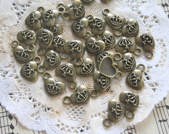 12 French Crown Heart Charms, Antique Bronze