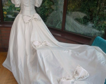wedding dress princess cinderella fairytale dress long train has gold embroidered bodice with bow trimming on the back uk12  usa size8
