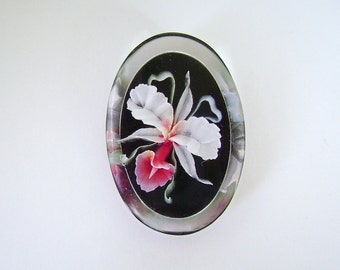Lucite Orchid Brooch, Vintage Orchid Pin, Ribbon Orchid, Pink, Fuchsia, White, Black, Flowers, Midcentury
