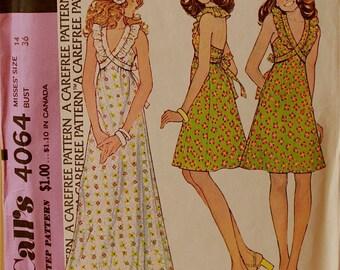 "Halter Dresses  -1970's - McCall's Pattern 4064  Uncut Size 14  Bust 36"""