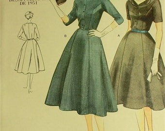Dress & Belt -  1950's  - Vintage Vogue Pattern 2268  Uncut  Size 10  Bust 32.5""