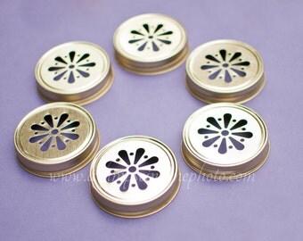 Ready to Ship Set of 12 Gold Color Daisy Mason Jar Lids DIY Wedding, Party Decor