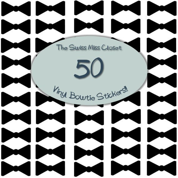 50 2 inch Bow Tie Stickers, Envelope Seals, Party Favors, Party Glasses, Unlimited Possiblities