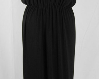 Baylis & Knight Black SHEER TOP Grecian Maxi Dress Elegant Long Formal Gown Relaxed 70's