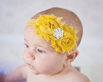 Mustard Yellow Headband Shabby Chic vintage flower baby headband