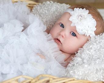 White headband, Girl Headband, Baby girl Headband, newborn headband, satin rosette christening