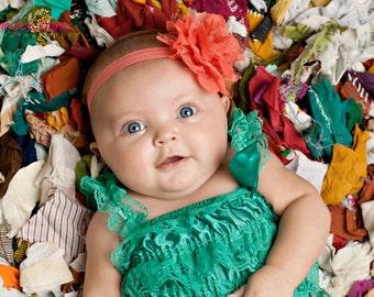 Baby Headband, Girl Headband, Coral Lace Headband, Baby girl Headband, newborn headband, vintage headband toddler fabric headband