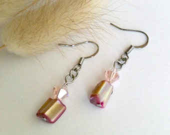Pink Dangle Earrings With Pink Swarovski Crystal And Chunky Cut Beads, Handmade