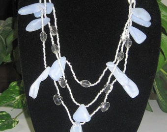 Striking Three Strand Blue Chalcedony Necklace - Blue Chalcedony Statement Necklace