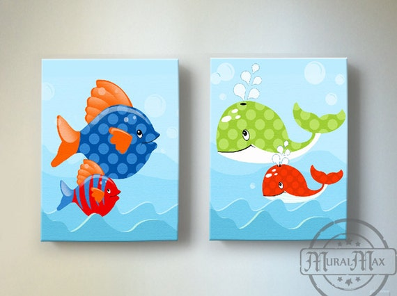 Ocean Theme Kids Wall Art Boys Wall Art Fish And Whale