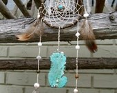 "3"" Brown and Turquoise Spider Web Dream Catcher"
