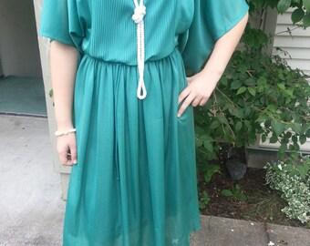 Vintage Green Pleated Dress